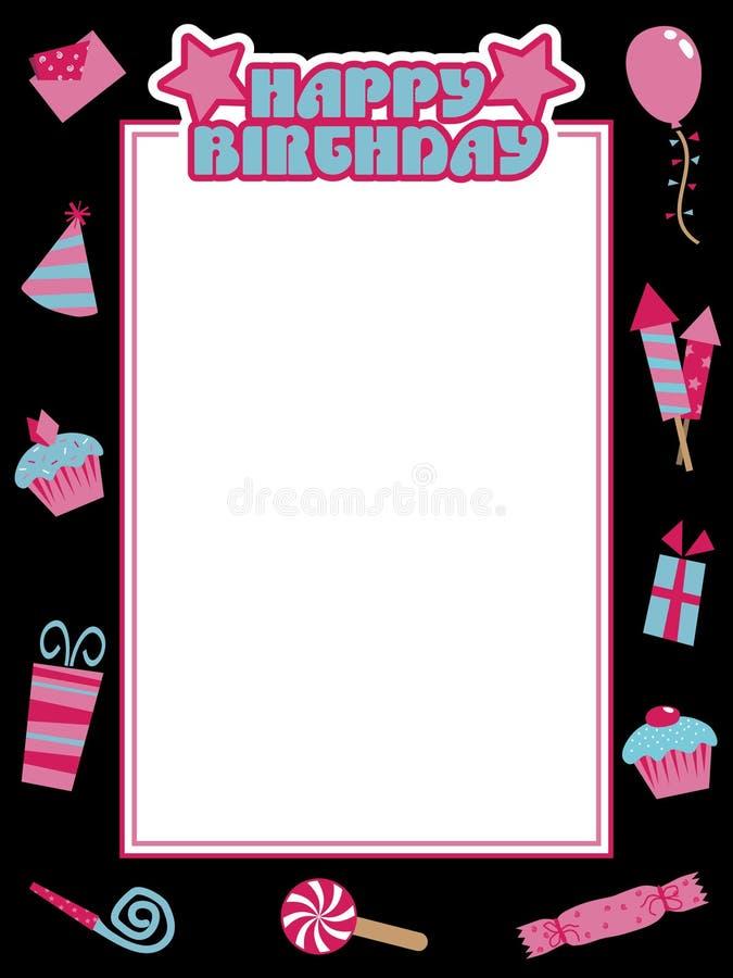 Marco negro y rosado del cumpleaños ilustración del vector