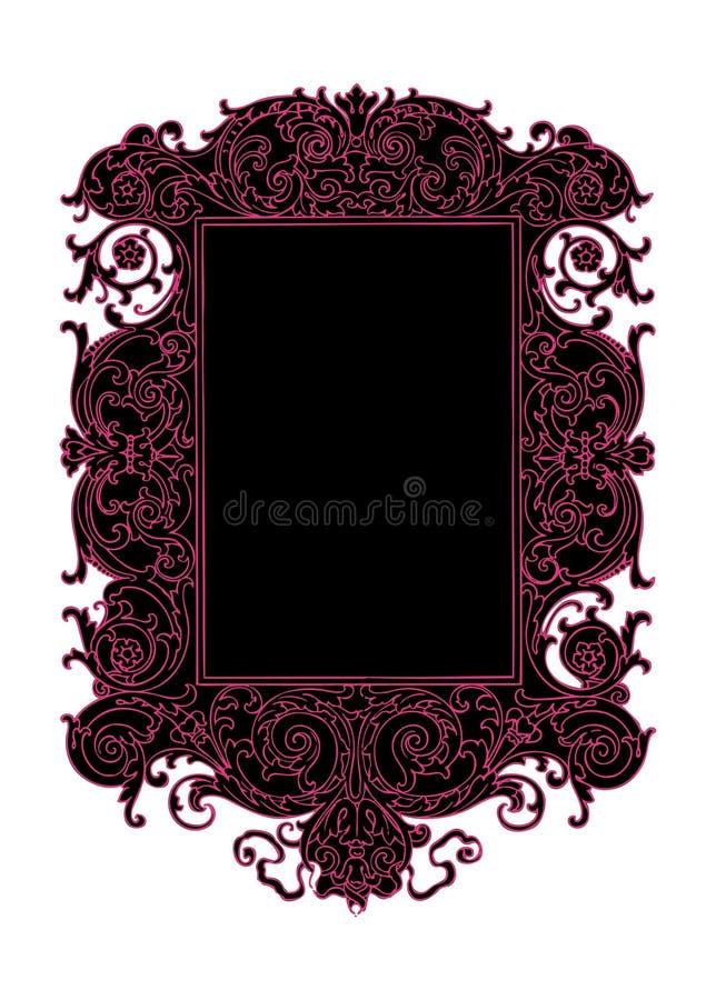 Marco negro y rosado del remolino del desfile del vector de la vendimia stock de ilustración
