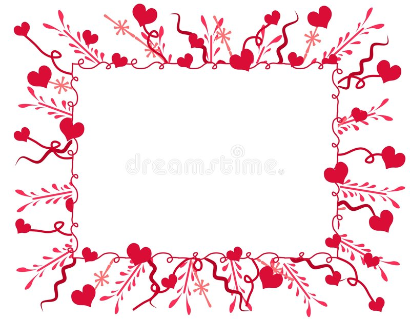 Marco o frontera decorativo de los corazones de la tarjeta del día de San Valentín ilustración del vector
