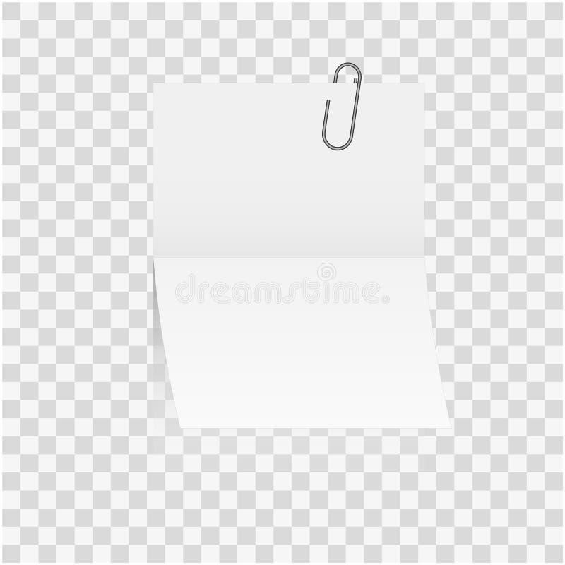 Marco o palillo del espacio en blanco de la nota del Libro Blanco al clip sellado de papel de expedientes aislado en fondo stock de ilustración