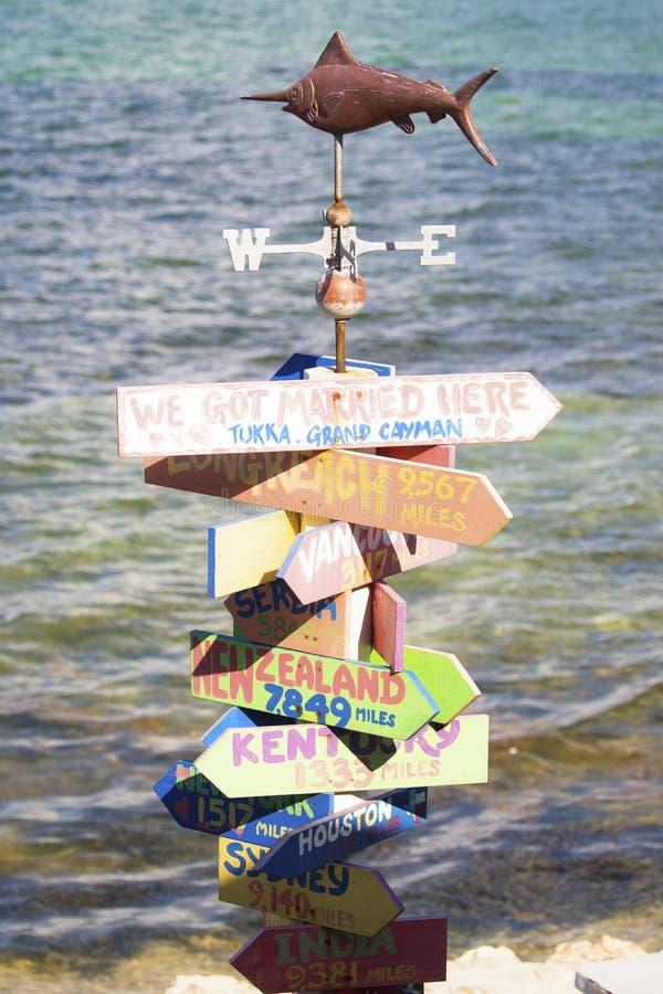 Marco original em ilhas de Grand Cayman com o oceano no fundo fotografia de stock royalty free