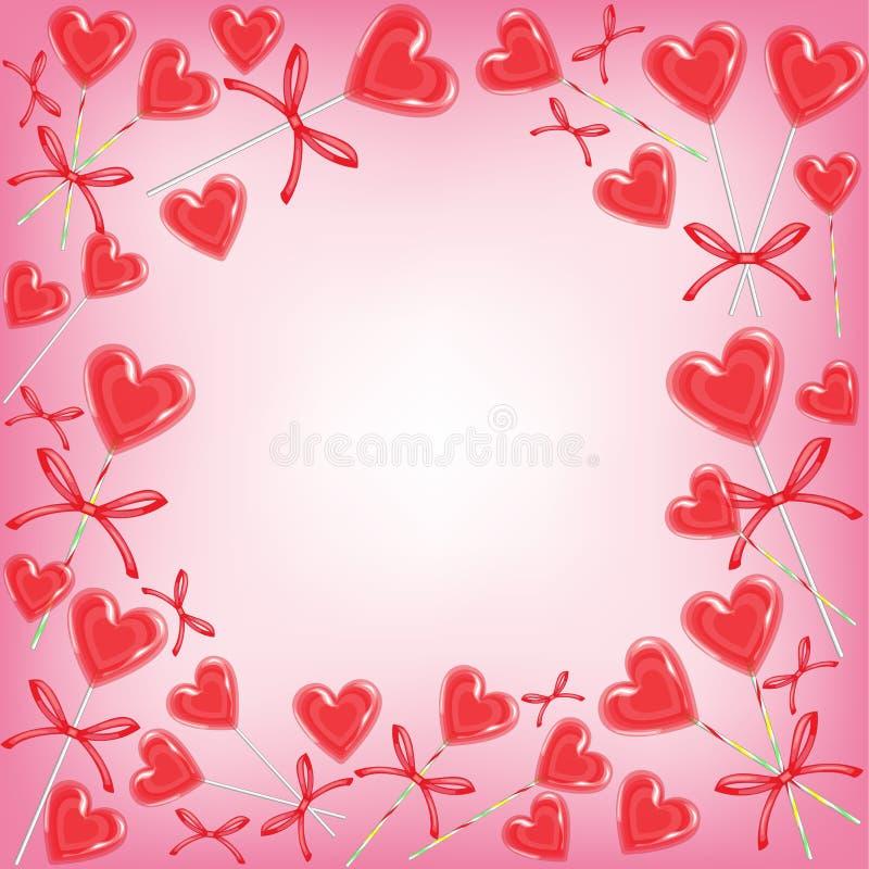 Marco original para las fotos y el texto Caramelo del amor Un regalo perfecto para el día de la tarjeta del día de San Valentín s stock de ilustración