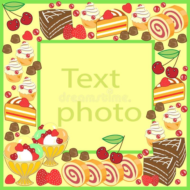 Marco original para las fotos y el texto Las tortas dulces crean un humor festivo Un regalo perfecto para los ni?os y los adultos ilustración del vector