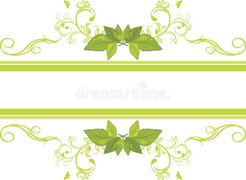 Marco ornamental con las hojas verdes ilustración del vector