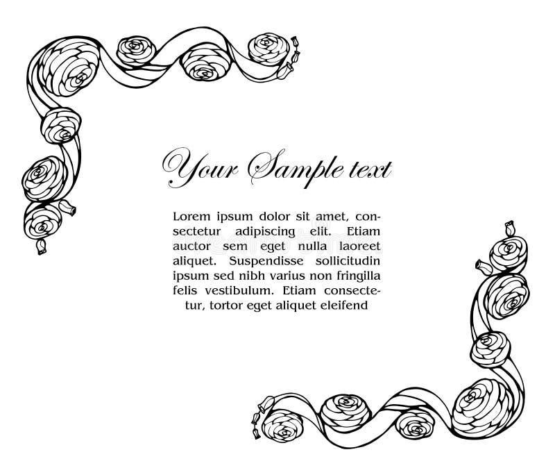 Marco ornamental con las rosas stock de ilustración