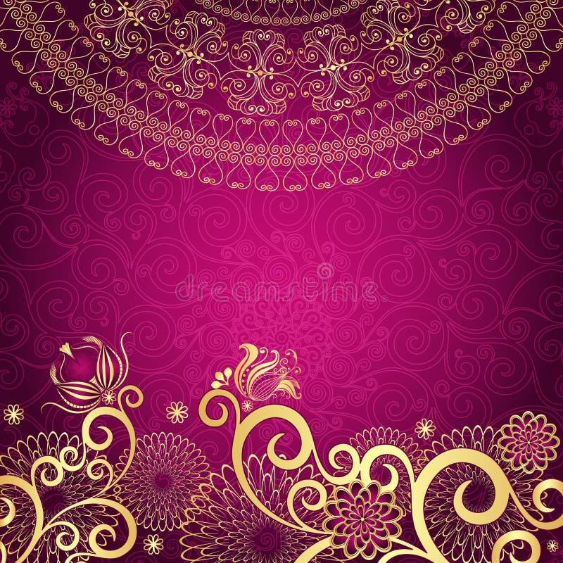 Marco oro-púrpura de la vendimia ilustración del vector