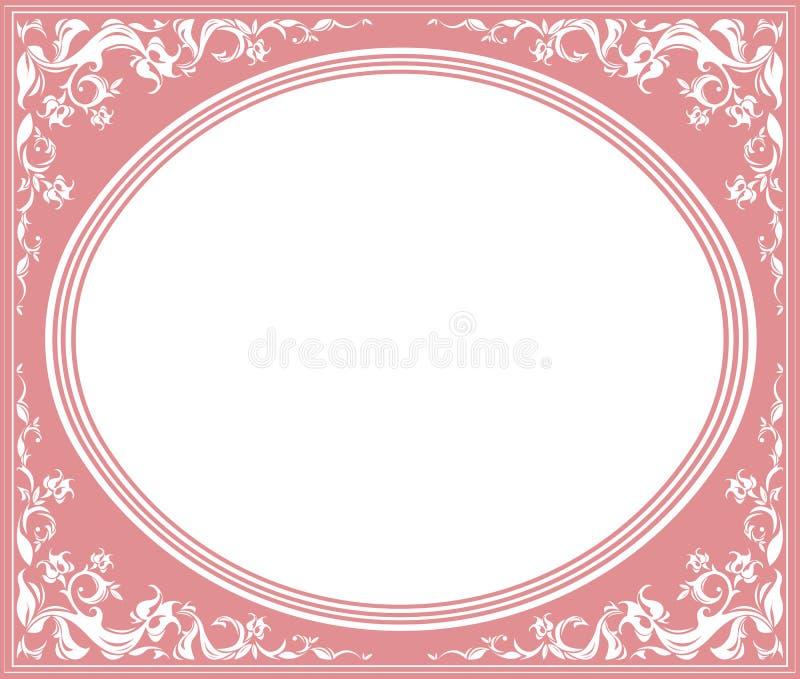 Marco oval con el ornamento elegante stock de ilustración