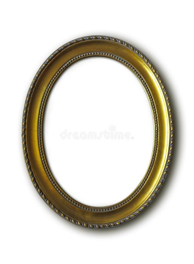 Marco oval de oro aislado en blanco fotos de archivo