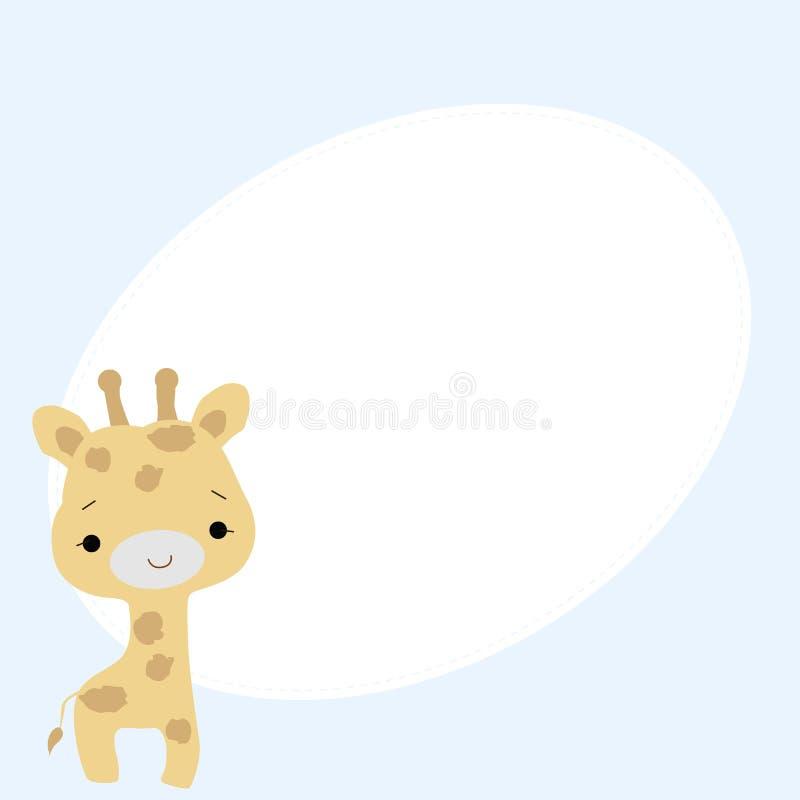 Marco oval del bebé lindo con una pequeña jirafa en un fondo azul ilustración del vector