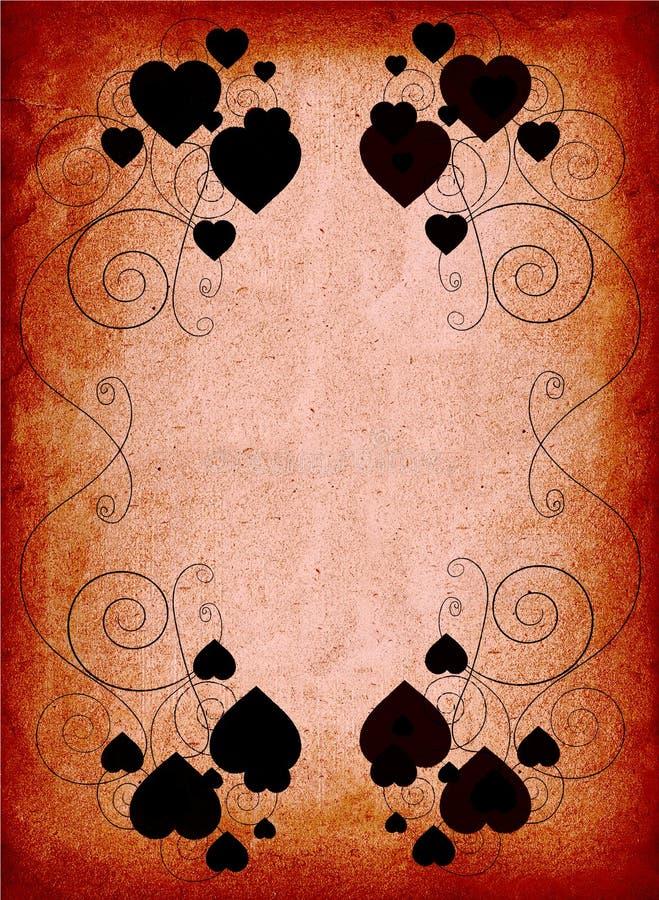 Marco oxidado de la tarjeta del día de San Valentín ilustración del vector