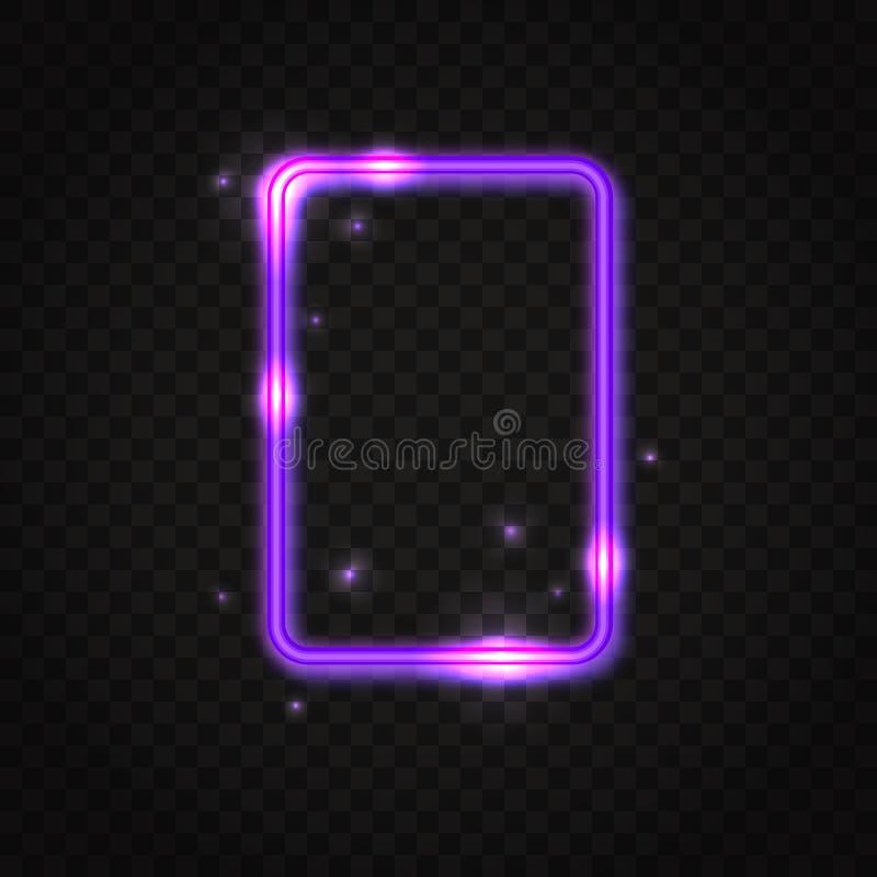 Marco púrpura de neón del rectángulo con el espacio para el texto stock de ilustración
