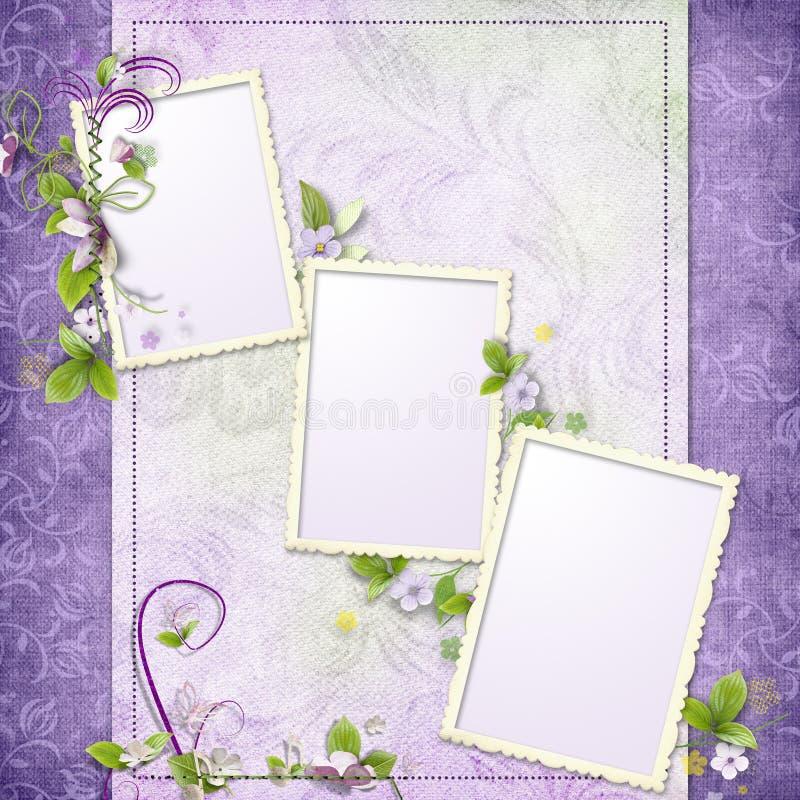 Marco púrpura para tres fotos imágenes de archivo libres de regalías
