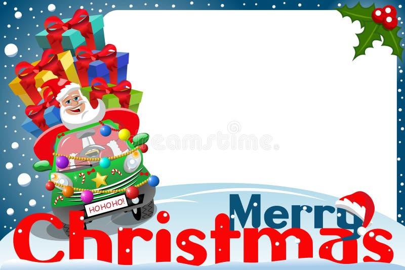 Marco Papá Noel de la Navidad que conduce noche de Navidad de los regalos del coche stock de ilustración
