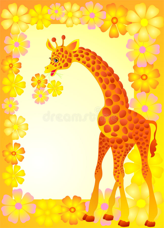 Marco para la foto con la jirafa de la historieta, vector libre illustration