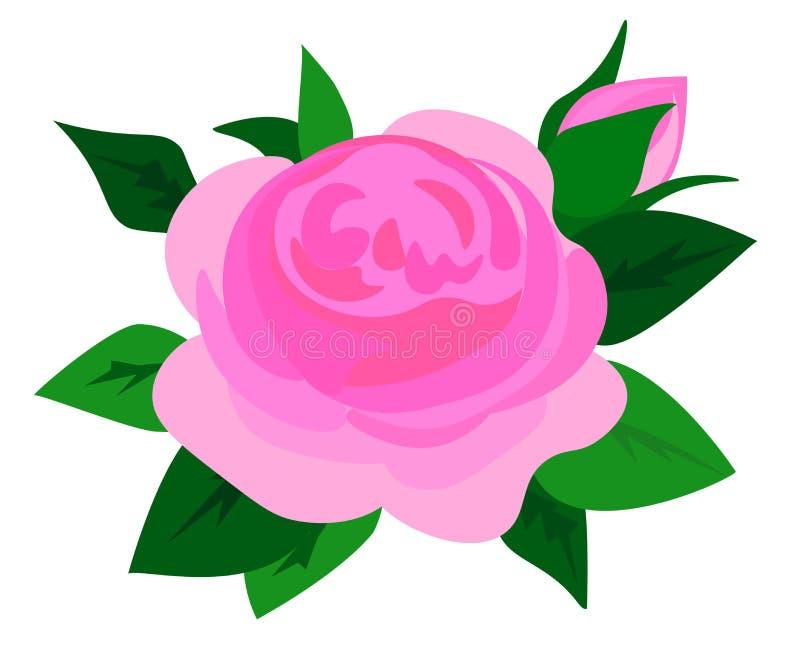 Marco pescado con caña con las rosas, floración del flor de la primavera, ramas con las flores de color de malva, rosadas del m libre illustration