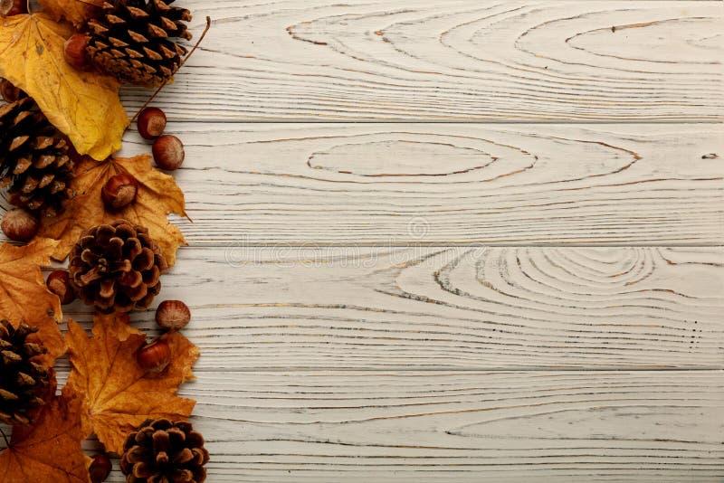 Marco plano de la endecha de las hojas, de los conos y de las nueces de otoño en una parte posterior de madera foto de archivo