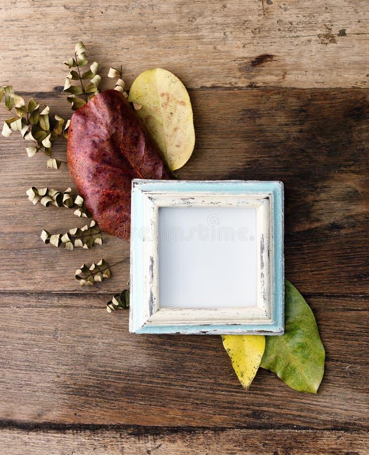 Marco plano de la foto de la endecha con las hojas de otoño en la tabla vieja imagenes de archivo