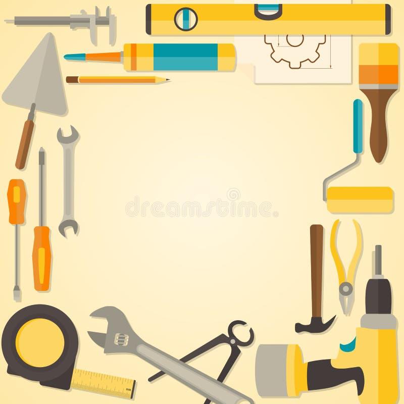Marco Plano Del Diseño Del Vector Con Las Herramientas De Bricolaje ...