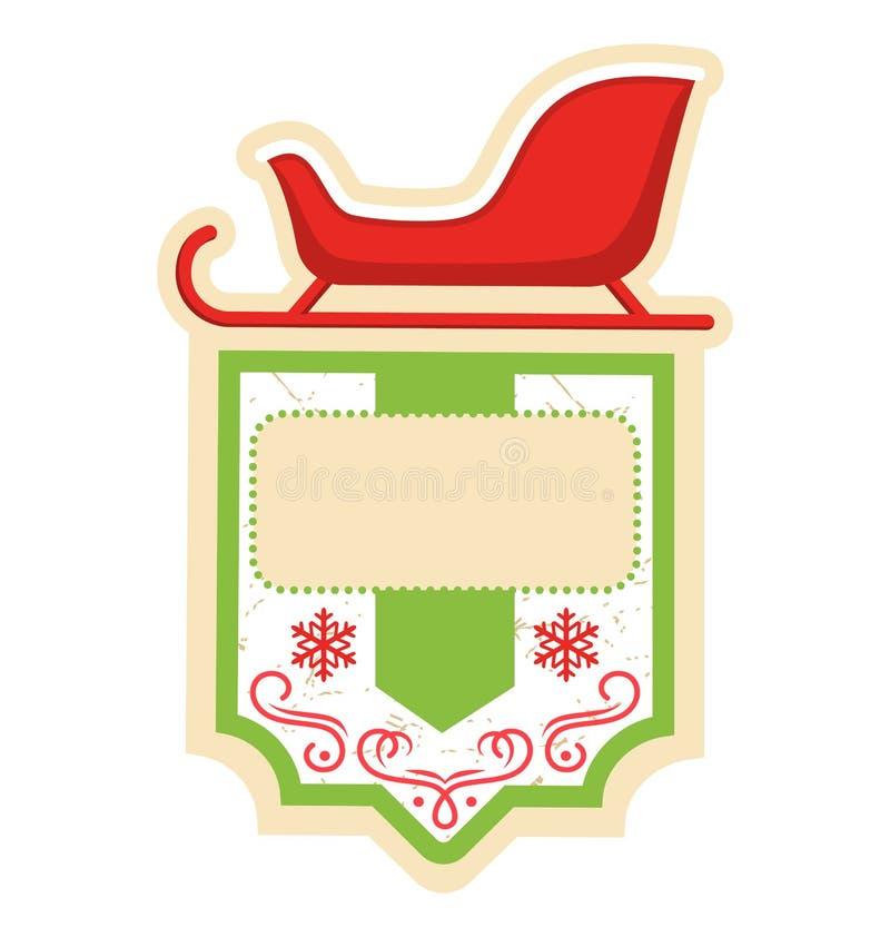 Marco plano del icono de la etiqueta de la Navidad con el trineo en blanco stock de ilustración