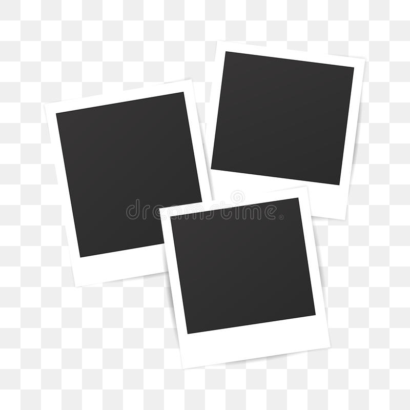Marco polaroid de la foto del sistema en blanco en fondo transparente ilustración del vector
