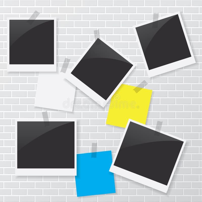 Marco polaroid y documento en blanco sobre la pared de ladrillo ilustración del vector