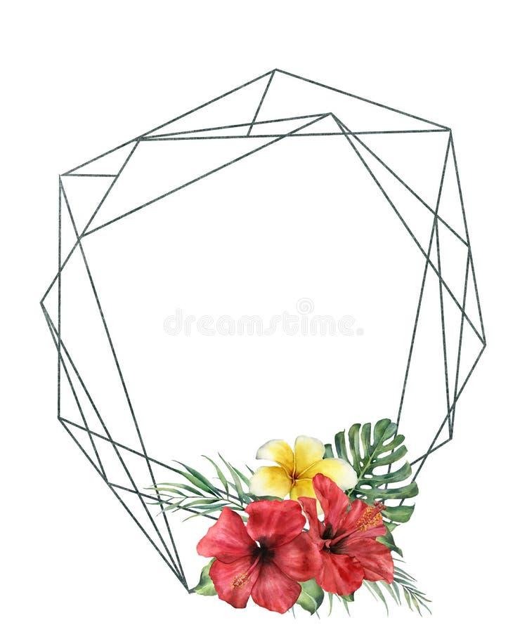 Marco poligonal de la acuarela con el ramo del hibidcus Etiqueta floral moderna exhausta de la mano con las hojas de palma y las  ilustración del vector