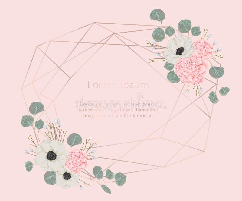 Marco poligonal del oro de Rose con los elementos florales en estilo de la acuarela Camelias rosadas, flores blancas de la anémon ilustración del vector