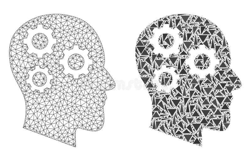 Marco poligonal Mesh Brain Gears del alambre e icono del mosaico stock de ilustración