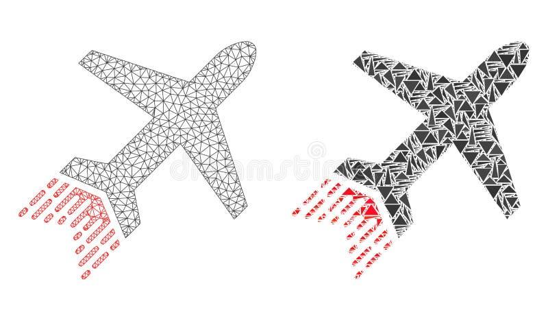 Marco poligonal Mesh Jet Liner del alambre e icono del mosaico libre illustration