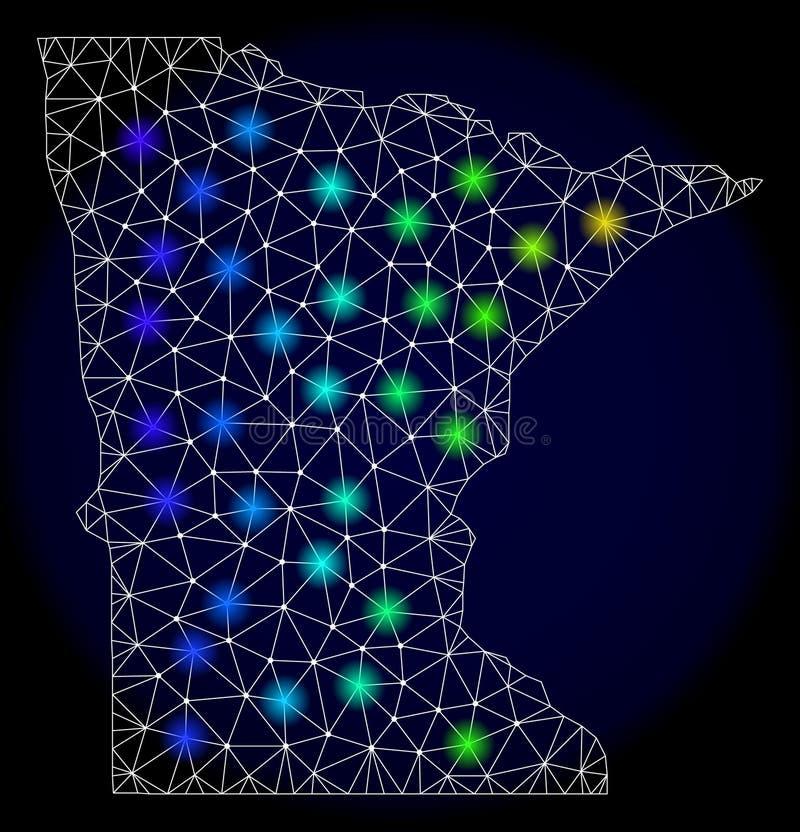 Marco poligonal Mesh Map del alambre del estado de Minnesota con los puntos ligeros brillantes libre illustration