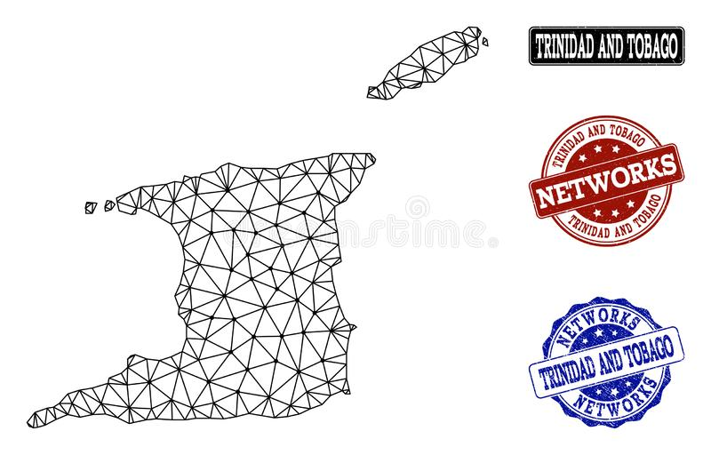 Marco poligonal Mesh Vector Map del alambre de Trinidad and Tobago y de los sellos del Grunge de la red libre illustration