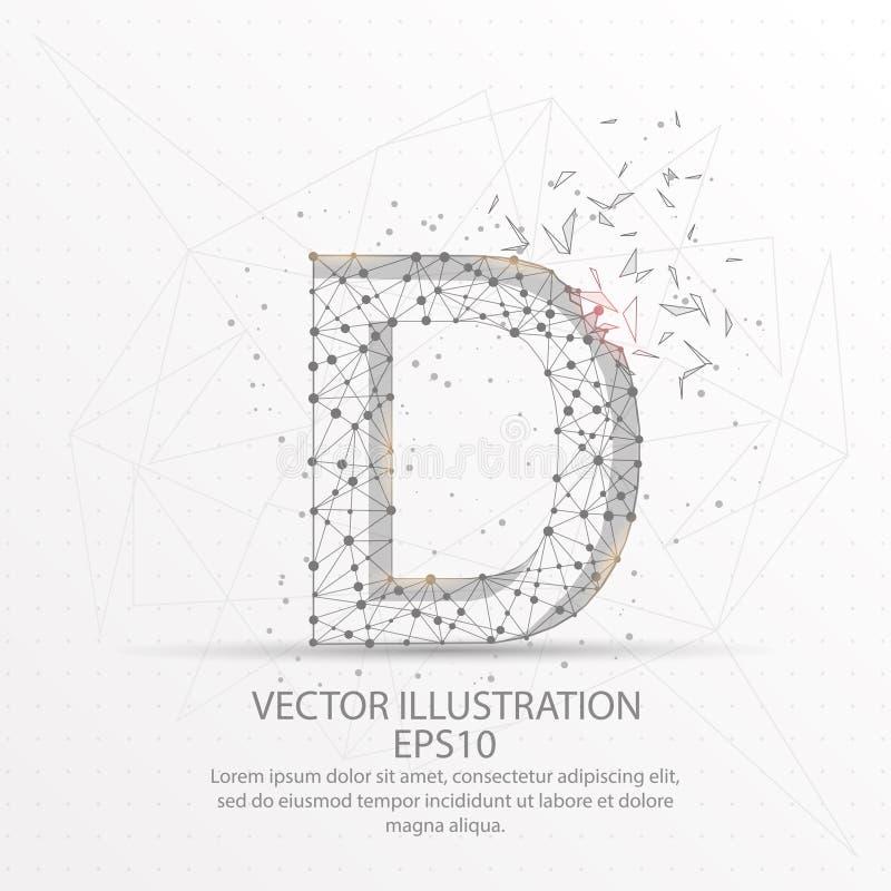 Marco polivinílico bajo del alambre de la forma de la letra D en el fondo blanco ilustración del vector