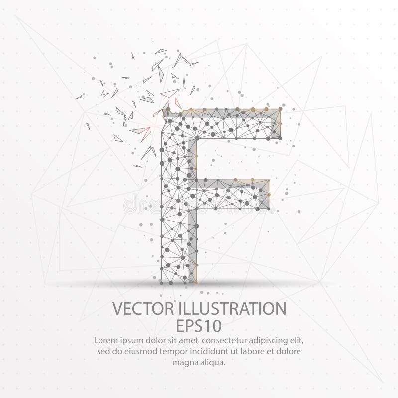 Marco polivinílico bajo del alambre de la forma de la letra F en el fondo blanco libre illustration