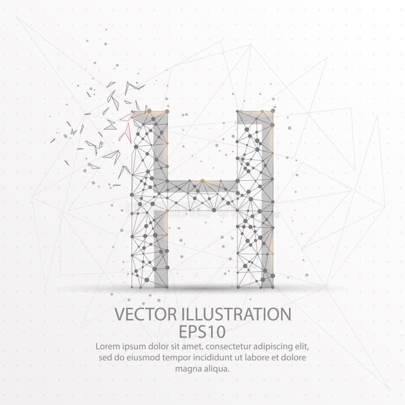 Marco polivinílico bajo del alambre de la forma de la letra H en el fondo blanco libre illustration