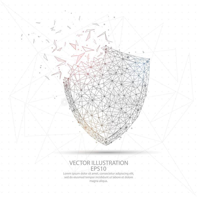 Marco polivinílico bajo dibujado Digital del alambre del escudo ilustración del vector