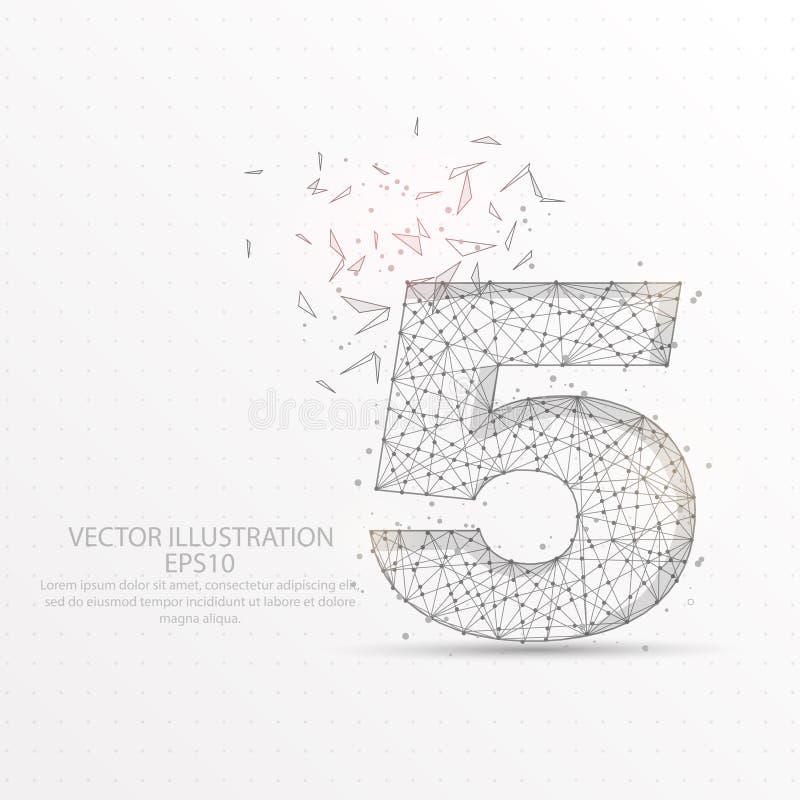 Marco polivinílico bajo estrellado del cielo del número cinco o del alambre del espacio en el fondo blanco libre illustration