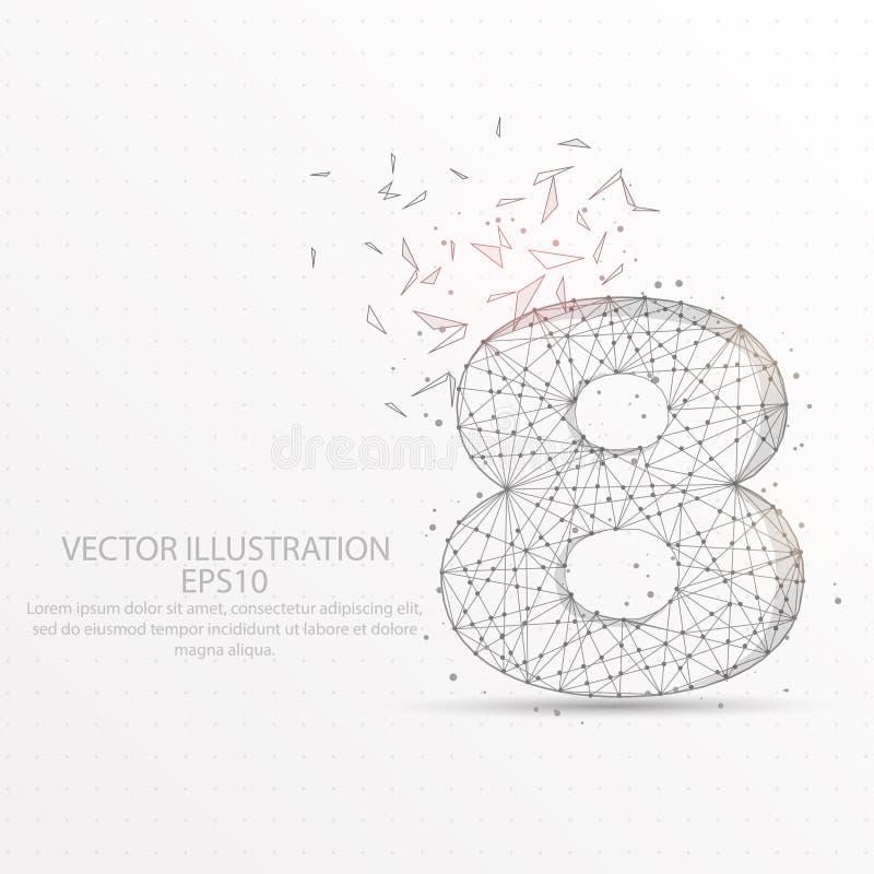Marco polivinílico bajo estrellado del cielo del número ocho o del alambre del espacio en el fondo blanco ilustración del vector