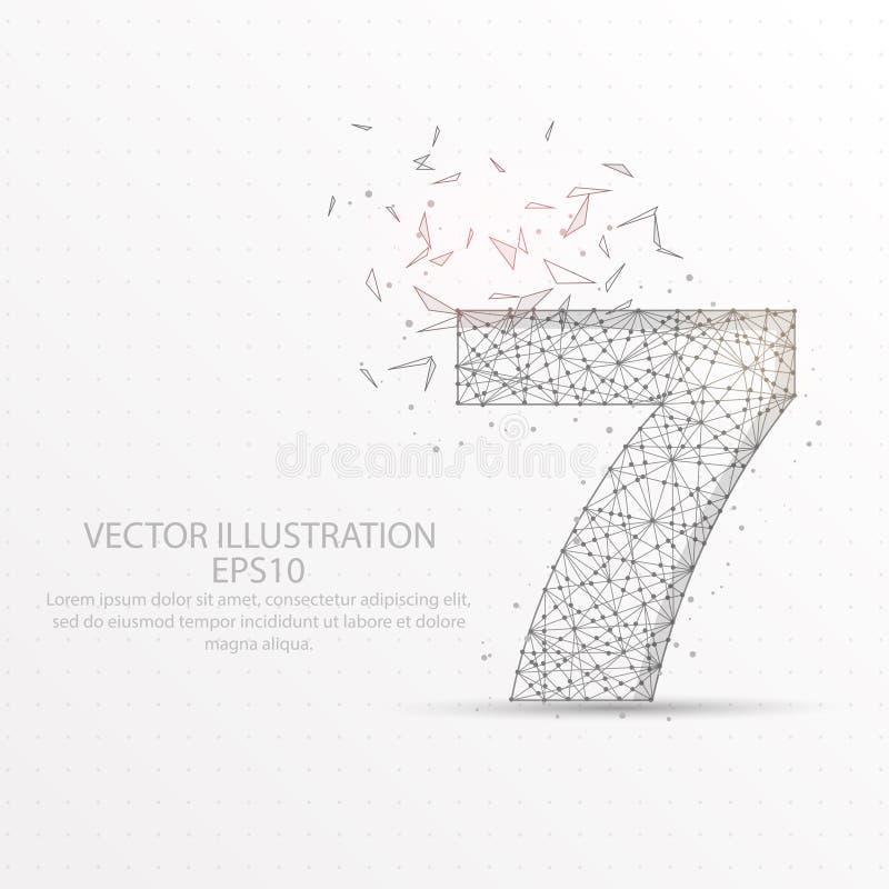 Marco polivinílico bajo estrellado del cielo del número siete o del alambre del espacio en el fondo blanco ilustración del vector