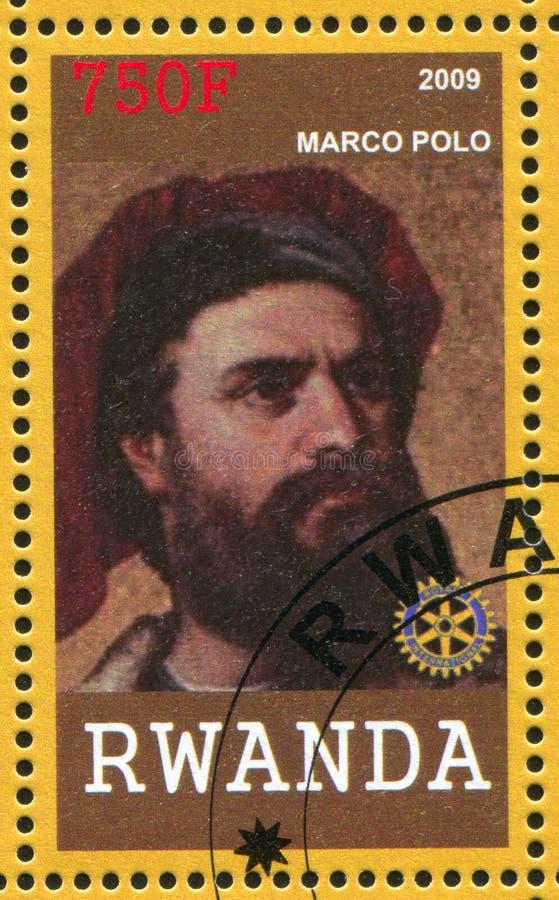Marco Polo imprimió por Rwanda foto de archivo