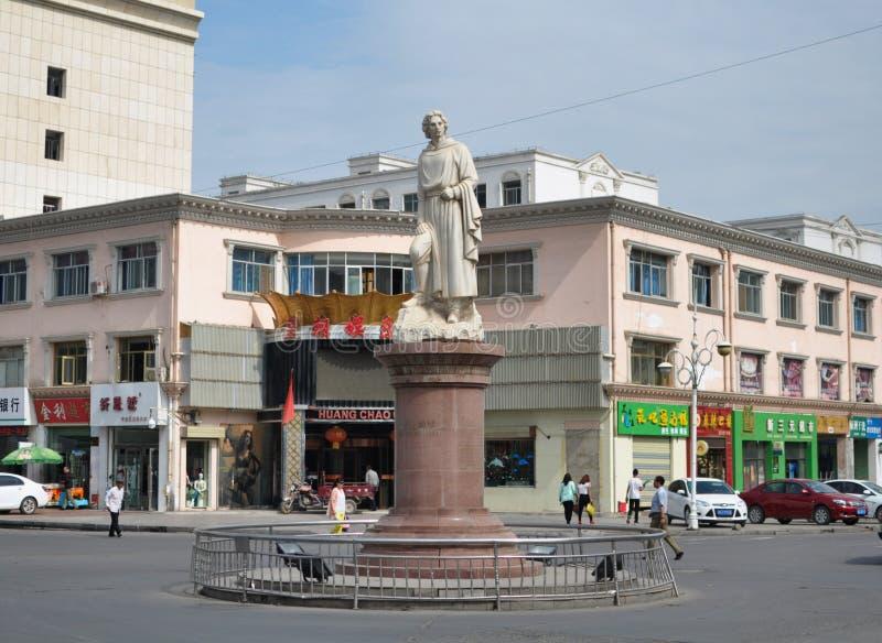 Marco Polo staty royaltyfri bild
