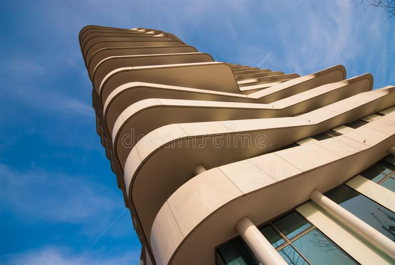 Marco polo tower hamburg. Frog perspective royalty free stock image