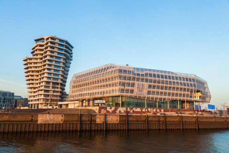 Marco Polo wierza i Unilever budynek w Hamburg, Niemcy fotografia royalty free