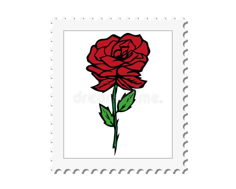 Marco postal del sello del vector con el bosquejo del adorno de la flor para el diseño libre illustration