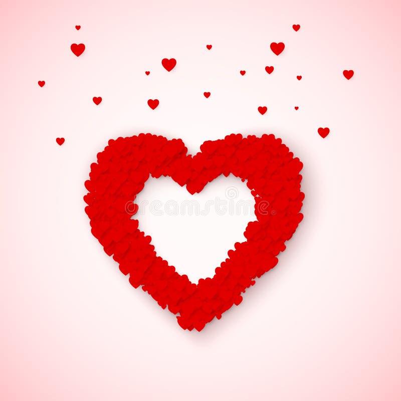 Marco precioso del corazón del pequeño confeti rojo y rosado de los corazones Sensación del amor en día de tarjetas del día de Sa ilustración del vector