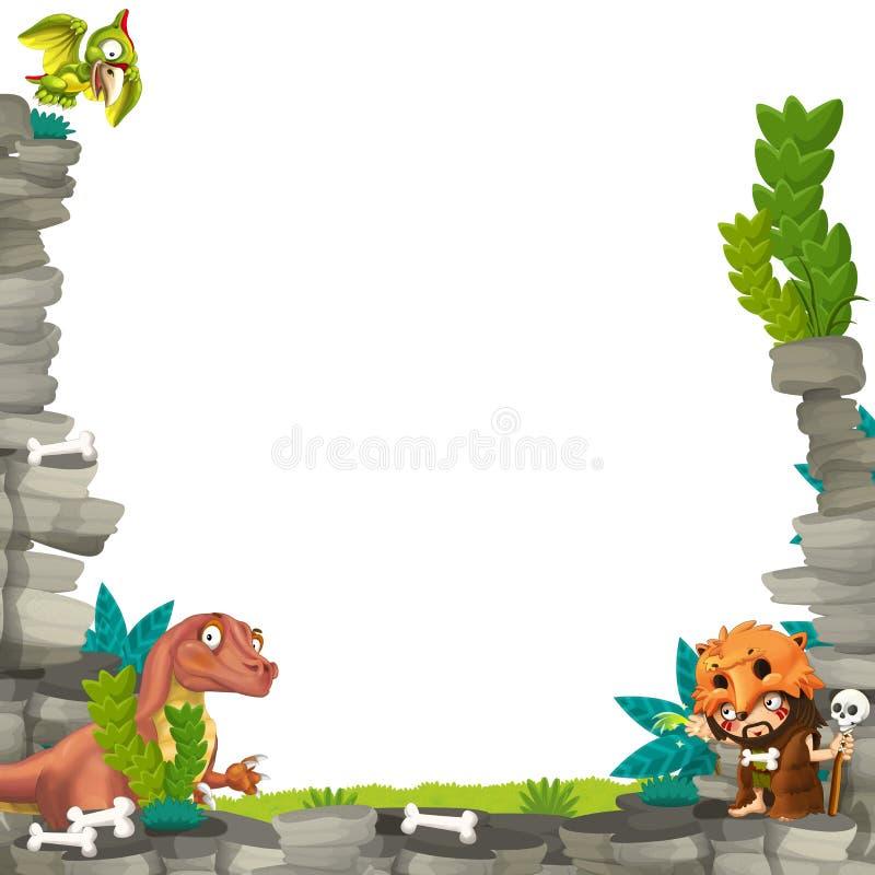 Marco prehistórico de la historieta stock de ilustración