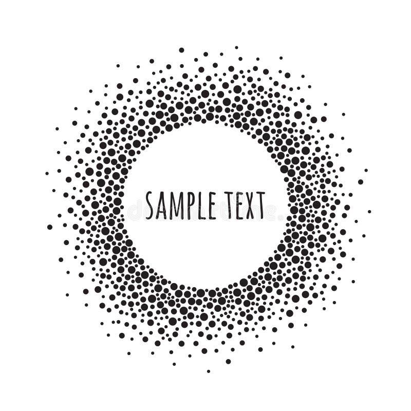 Marco punteado redondo con el espacio para el texto Fondo blanco y negro del extracto del vector ilustración del vector