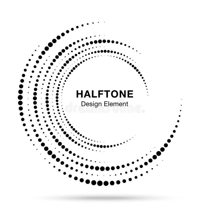 Marco punteado vórtice circular de semitono Puntos del remolino del círculo aislados en el fondo blanco Textura de semitono del l libre illustration