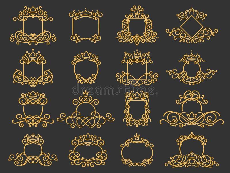 Marco real del monograma Emblema exhausto de la corona de la mano, muestra del bosquejo del garabato del vintage y sistema aislad stock de ilustración