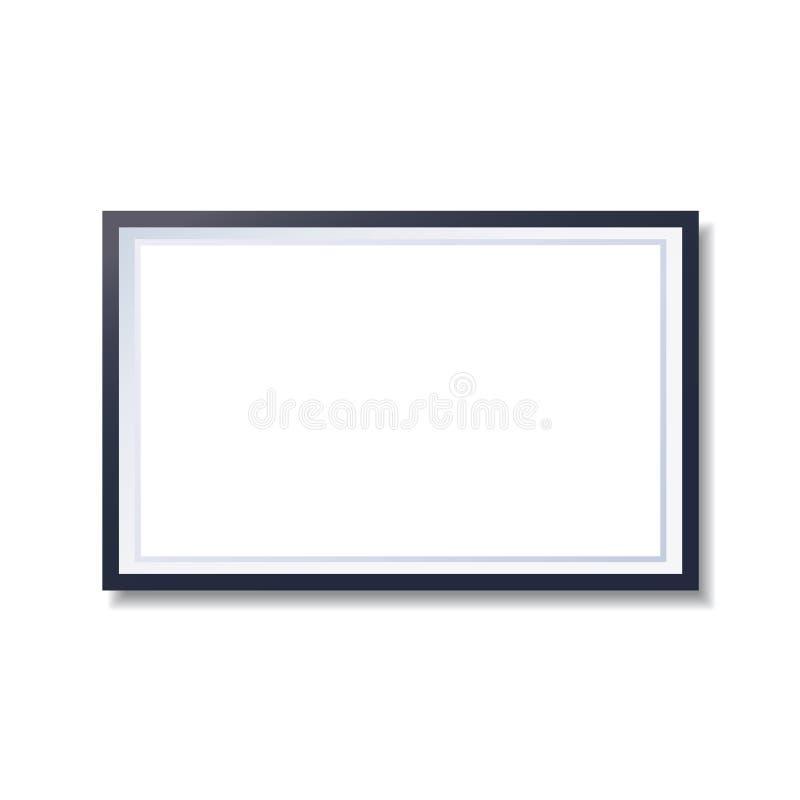 Marco realista aislado en el fondo blanco Maqueta moderna de la foto con el fondo blanco para su foto stock de ilustración