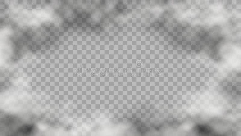 Marco realista del humo en fondo transparente ilustración del vector